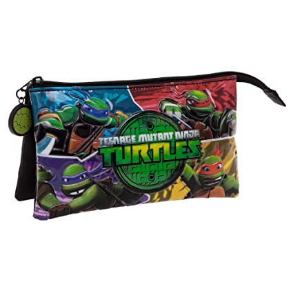 Tortugas Ninja Estuche Tres Compartimentos, Color Verde, 1.32 litros