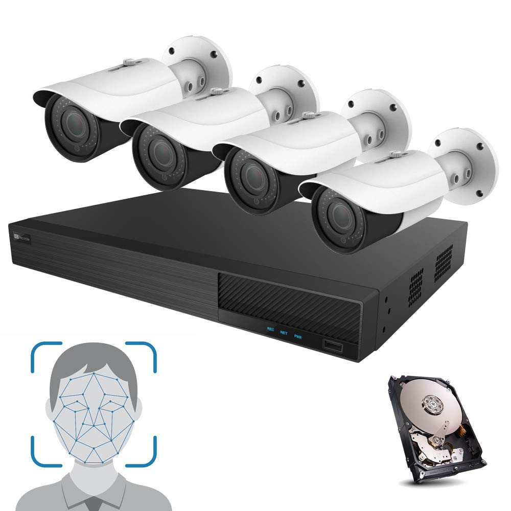 HDView Facial Recognition Camera System, 8 Channel Security NVR 8 PoE Ports with Night Vision Network ONVIF Security Cameras, Facial Time Attendance System, Video Analytics, Commercial Grade by HDView