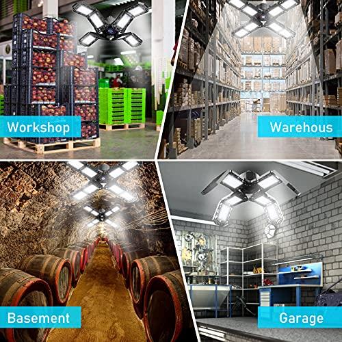 Werkstattlampe, Garagenlampe LED 1500LM 6500K, 150W KaltesWeiß Einstellbar LED Werkstattlampe mit 8 Verstellbaren Panels für Carport Garage Keller