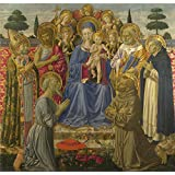 Canvas Prints Of Oil Painting 'Benozzo Gozzoli - The Virgin And Child Enthroned Among Angels And Saints,1461-2' 20 x 21 inch / 51 x 53 cm , Polyster Canvas, Bar, Dining Room And Laundry Roo decoration