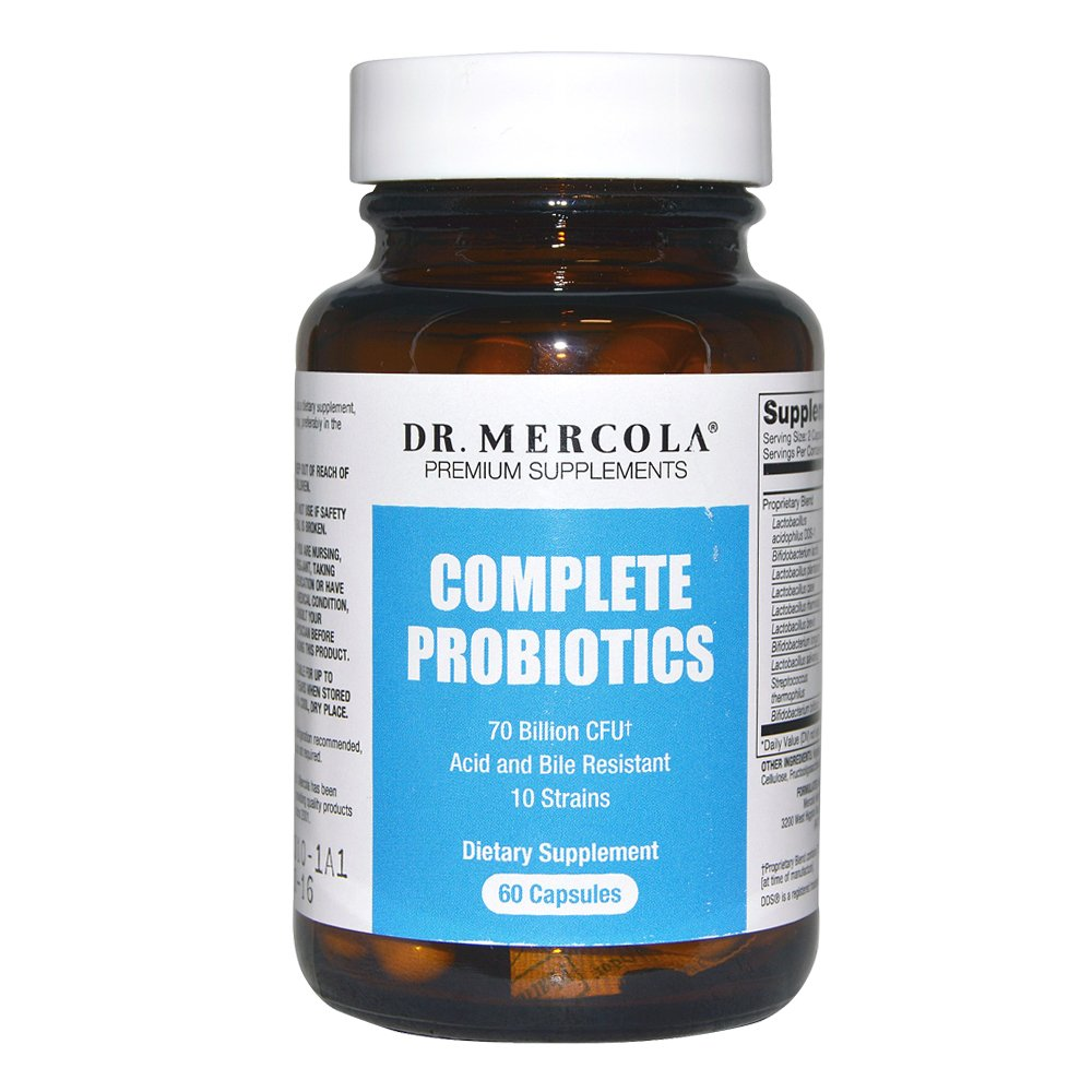 Dr. Mercola Complete Probiotics 60 - 30 Servings - Twice Daily Probiotic Supplement - 70 Billion CFU - Acid & Bile Resistant - Promotes Digestive Health and Supports Immune System
