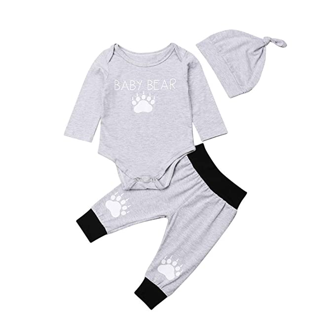 8b7b7f1ff Amazon.com  3Pcs Toddler Baby Boys Bear Paw Long Sleeve Bodysuit ...