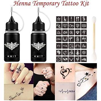 e395bb611a551 Jagua Henna Tattoo Kit Black Tatoo Ink 1oz, Semi Permanent Tattoo, DIY  Freehand Temporary
