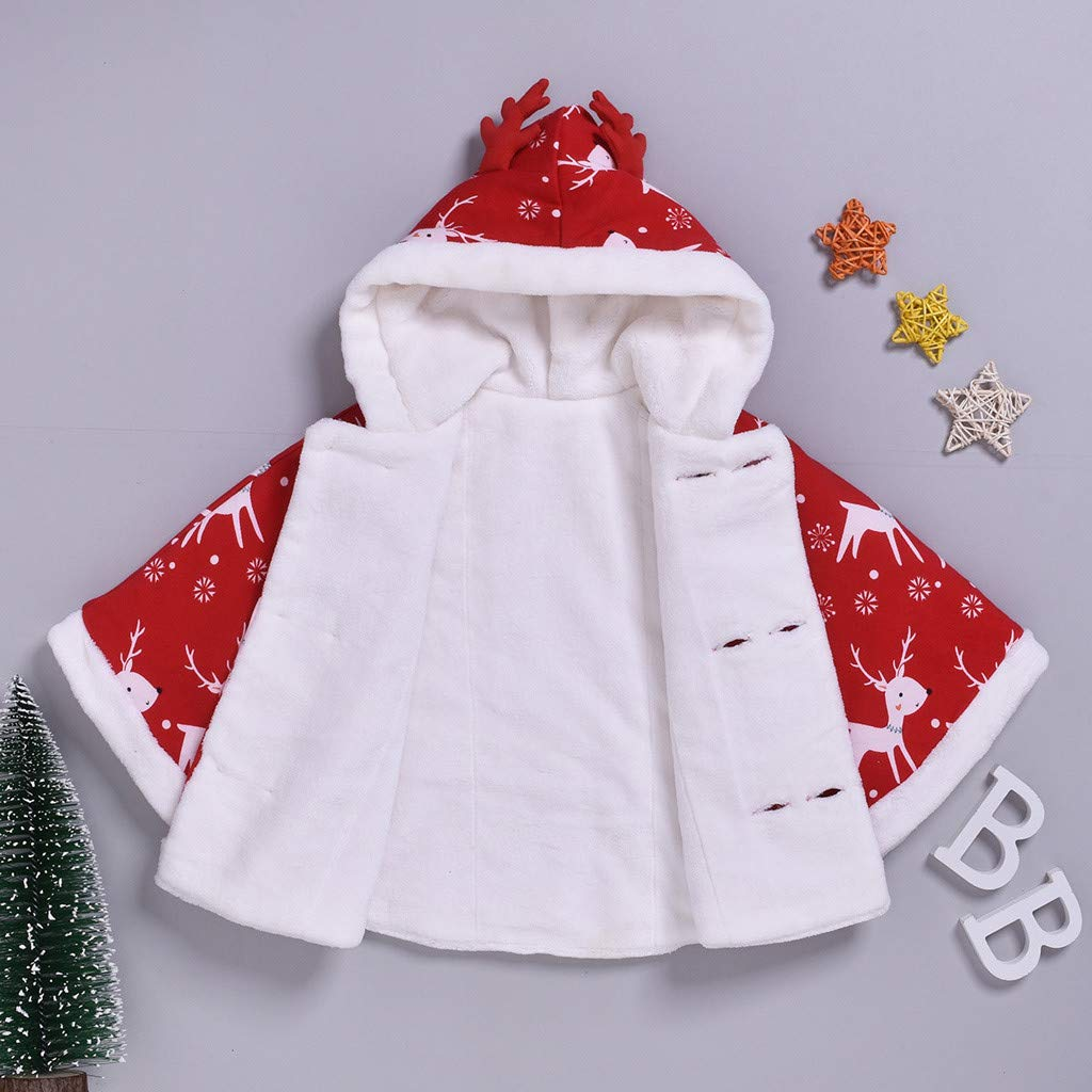 Janly Baby Coat for 0-24 Months Kids Christmas Cloak Outwear Baby Girls Button Jacket Xmas Elk Deer Print Capes Kids Warm Hooded Coat