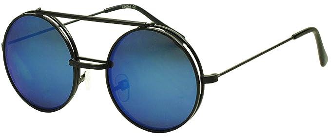 490c4593aca Limited Edition Round Retro Flip Up Blue Flash Mirrored Black Sunglasses w   Clear Lenses Glasses