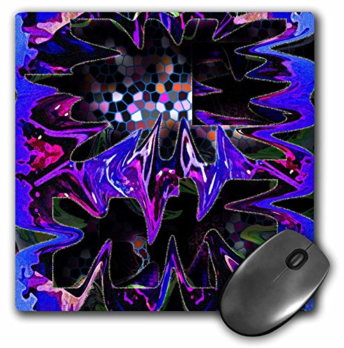 - 3dRose Jos Fauxtographee Mod Abstract - Pink, Purple, Green Blue and Brown with Stained Glass Effect and Wispy Edges Highlighted in Yellow - MousePad (mp_47568_1)