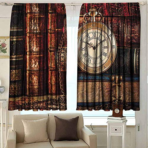 (DuckBaby Antique Polyester Curtain Nostalgic Classic Pocket Watch on The Background of Old Books Dated Archive Photo Children's Bedroom Curtain W72 xL63 Multicolor)