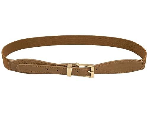 sourcingmap® Cinturón Elástico De Señora Mujer Solo Cierre De Perno Marrón