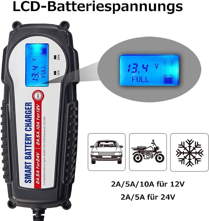Akm Batterie Ladegerät 12v 24v 10a Winterlademodus Aktualisierte Version Lcd Batteriespannungs Und Ladefortschrittsanzeige Für Kfz Pkw Auto Motorrad Auto
