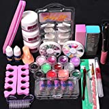 Chartsea Pro 24 in 1 Acrylic Nail Art Tips Liquid Buffer Glitter Deco Tools Full Kit Set (A)