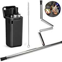 Haundry Collapsible Reusable BPA Free Stainless Steel Silicone Foldable Drinking Straw