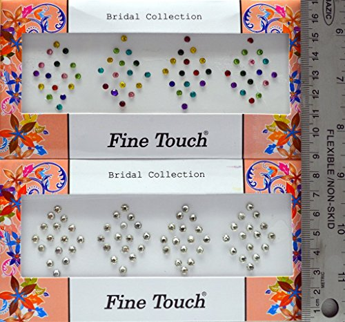 Silver and Multicolor Crystal-Look Dot Bindi Tattoo 125 Stickers in Pack of 2 Cards Adhesive Body Jewelry By Golden India P4