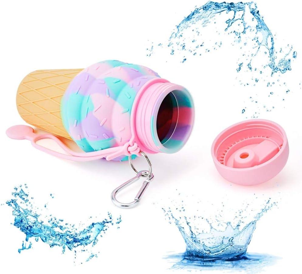 UNEVIE Botella De Agua Plegable para Niños, Silicona, Tapa De Rosca, A Prueba De Fugas para Viaje, Deporte u Otra Actividad.