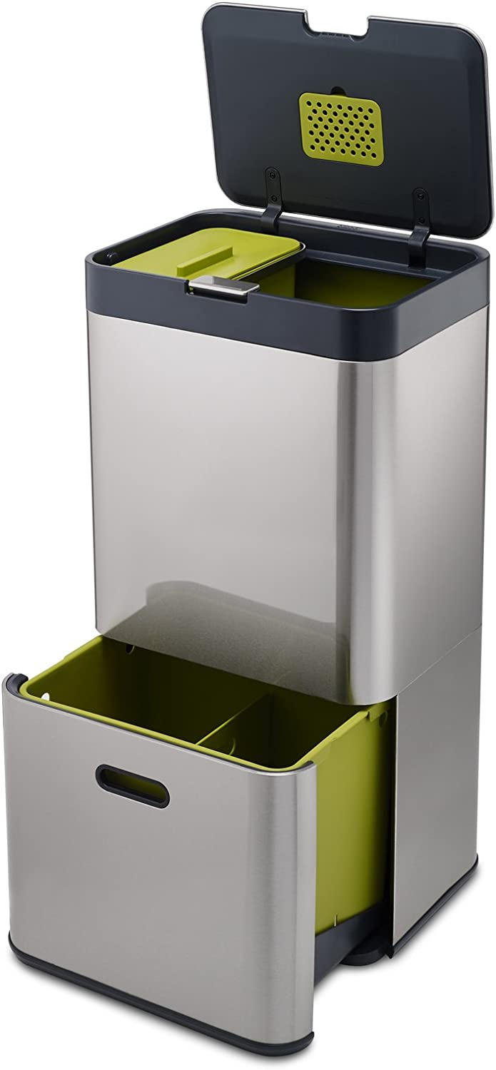 Joseph Joseph 30022 Intelligent Waste Totem Kitchen Trash Can and Recycle  Bin Unit with Compost Bin, 16 gallon / 60 liter, Stainless Steel