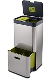 joseph joseph intelligent waste totem kitchen trash can and recycle bin unit with compost bin