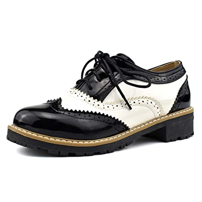 100FIXEO Women Wingtip Lace Up Vintage Oxford Shoes Brogues | Oxfords