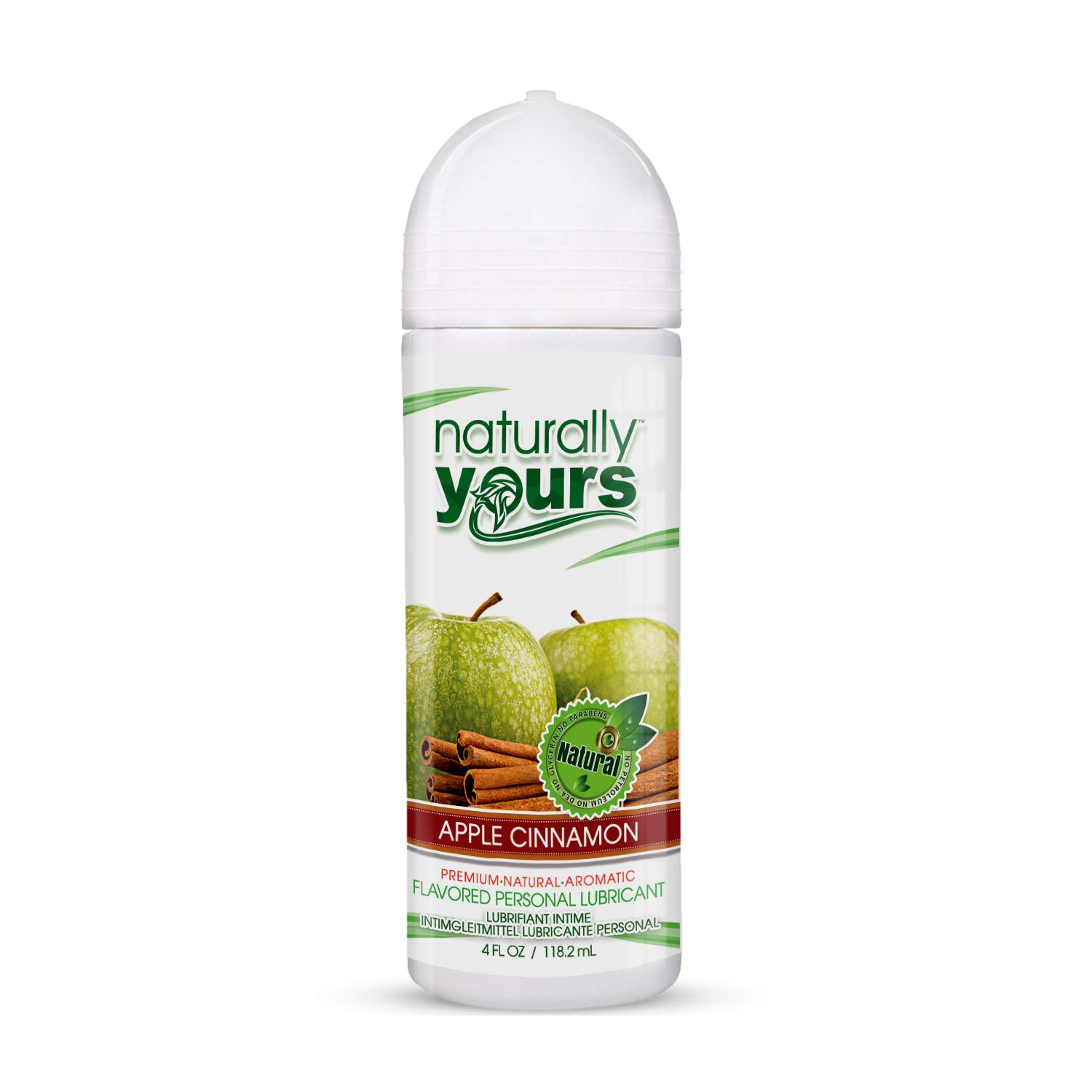 Naturally Yours - Apple Cinnamon Flavored, Natural Personal Lubricant 4 oz - Glycerin and Paraben Free