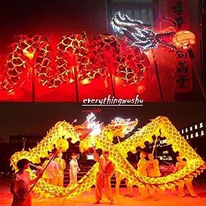 LED Light Dragon Dance Equipment Wushu Dragon Dancing Costume (10 Adults Performance)