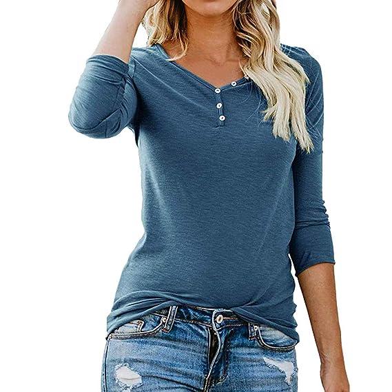 Yvelands Camiseta de Manga Larga con Cuello Henley Mujer Blusa básica Informal(Azul,XS
