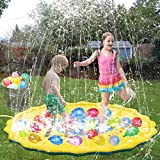 WTOR Water Toys Big Splash Play Mat Sprinkle Pad and 500Pcs Balloons for Summer Balloons Water Fight, Inflatable Outdoor Water Play Sprinkle Play Mat Summer Fun Backyard Play for Infants Toddlers and Kids (170cm)