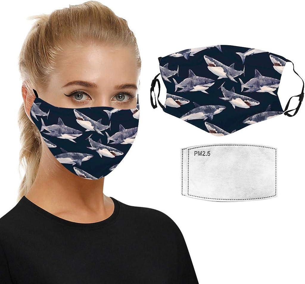 Hanomes Sommer Bandana Waschbar 3D Lustiger Tiergedruckter Atmungsaktiver Wiederverwendbarer Baumwolle Halstuch Mundschutz mit Verstellbarer Ohrb/ügel 1+2 F ilters