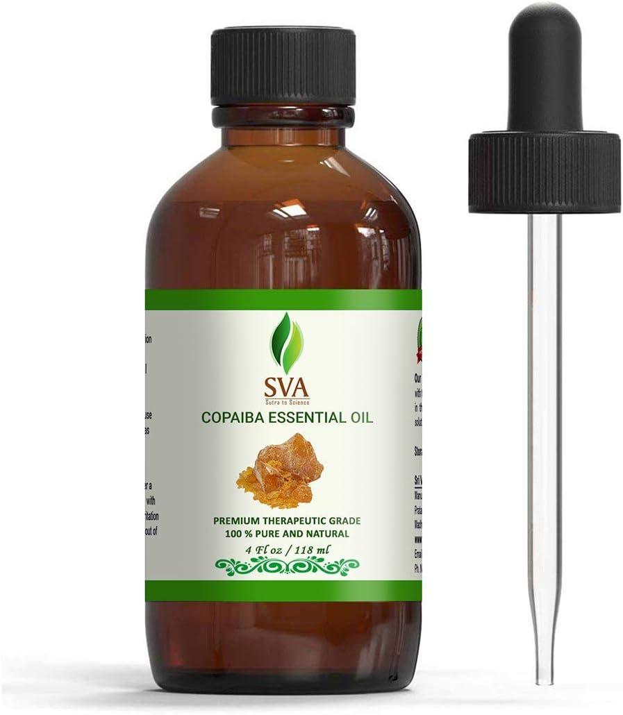 SVA Organics Copaiba Essential Oil 4 Oz 100% Pure Natural Premium Therapeutic Grade with Dropper for Diffuser, Aromatherapy, Skin Care, Hair & Massage