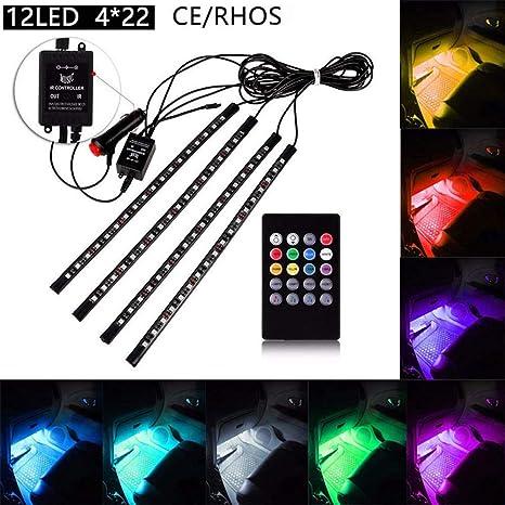 FOLCONROAD - Juego de 4 Tiras de Luces LED Multicolores para Coche, música y Interior