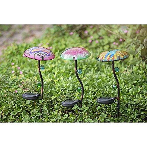 Sunjoy Mushroom Garden Stake With Led Solar (Set of 3)