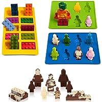 Eighteen-U Lego a Forma di Robot Muffa, Set di 3stampi in Silicone per Lego Amanti mattoncini e Robot Decorazione Torta di Compleanno Candy stampi Cioccolato del Sapone stampi da Forno stampi