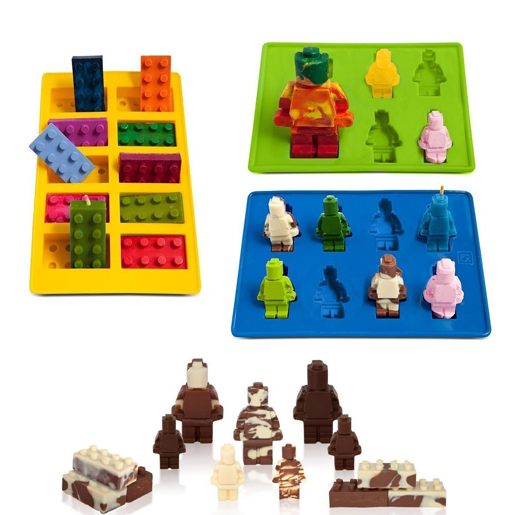 SaSa Design Lego Shaped Robot Mold,Set of 3 Silicone Molds for Lego Lovers Building Blocks and Robots Birthday Cake Decoration Candy Molds Chocolate Molds Smile Ice Cube Candy Dessert Jello Molds