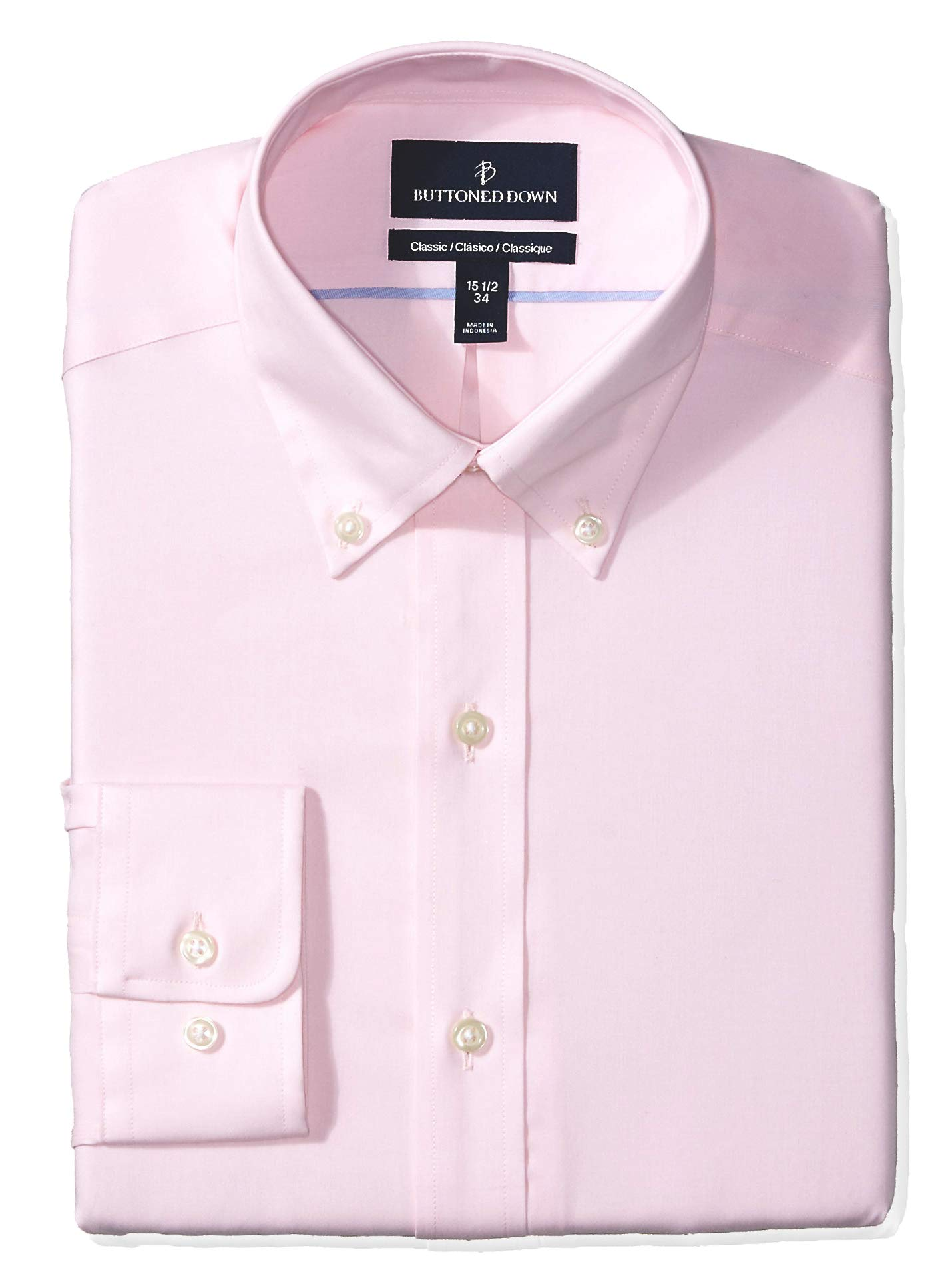 Amazon Brand – BUTTONED DOWN Men's Classic Fit Button-Collar Solid Pinpoint Dress Shirt, Supima Cotton Non-Iron
