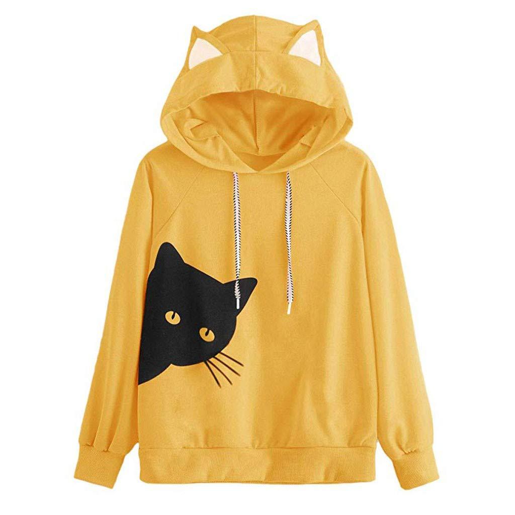 MERICAL Womens Cat Manica Lunga con Cappuccio Felpa con Cappuccio Pullover Tops Blouse