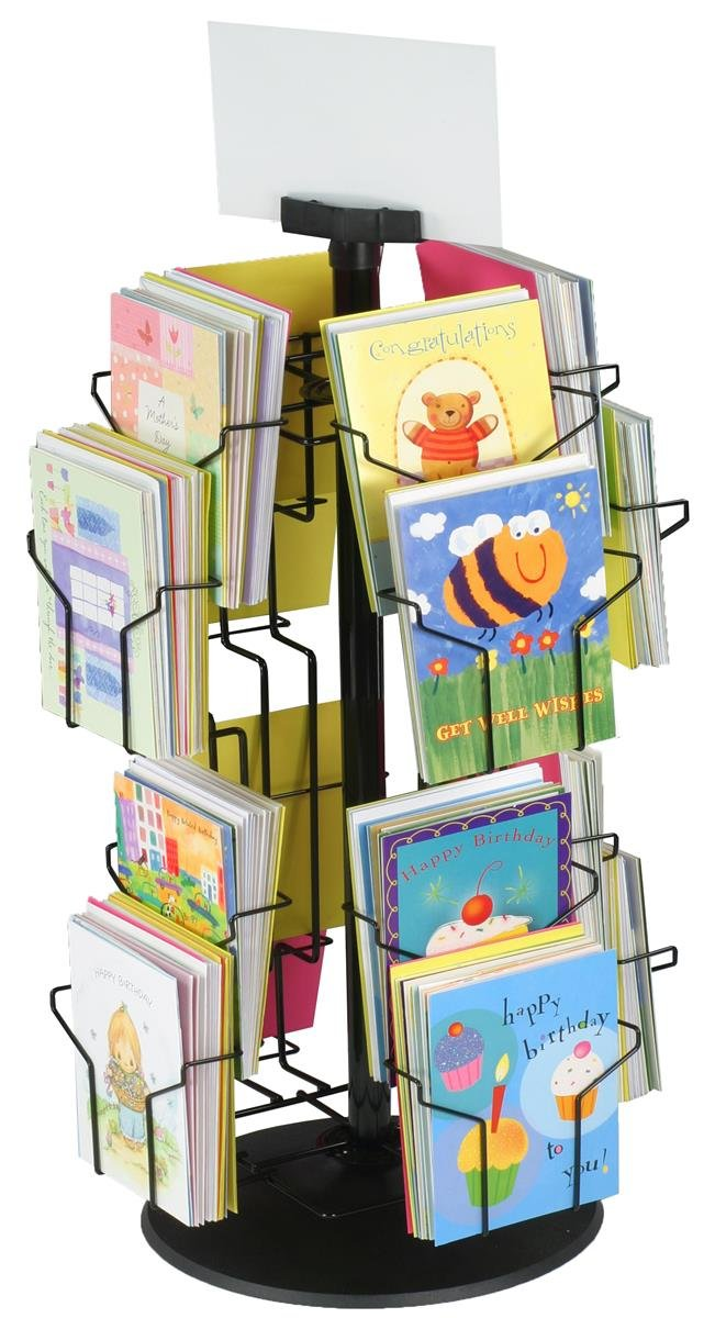 Greeting Card Rack with (16) 5 x 7 Pockets for Countertops, Rotating Design - Black Wire Construction with Plastic Base