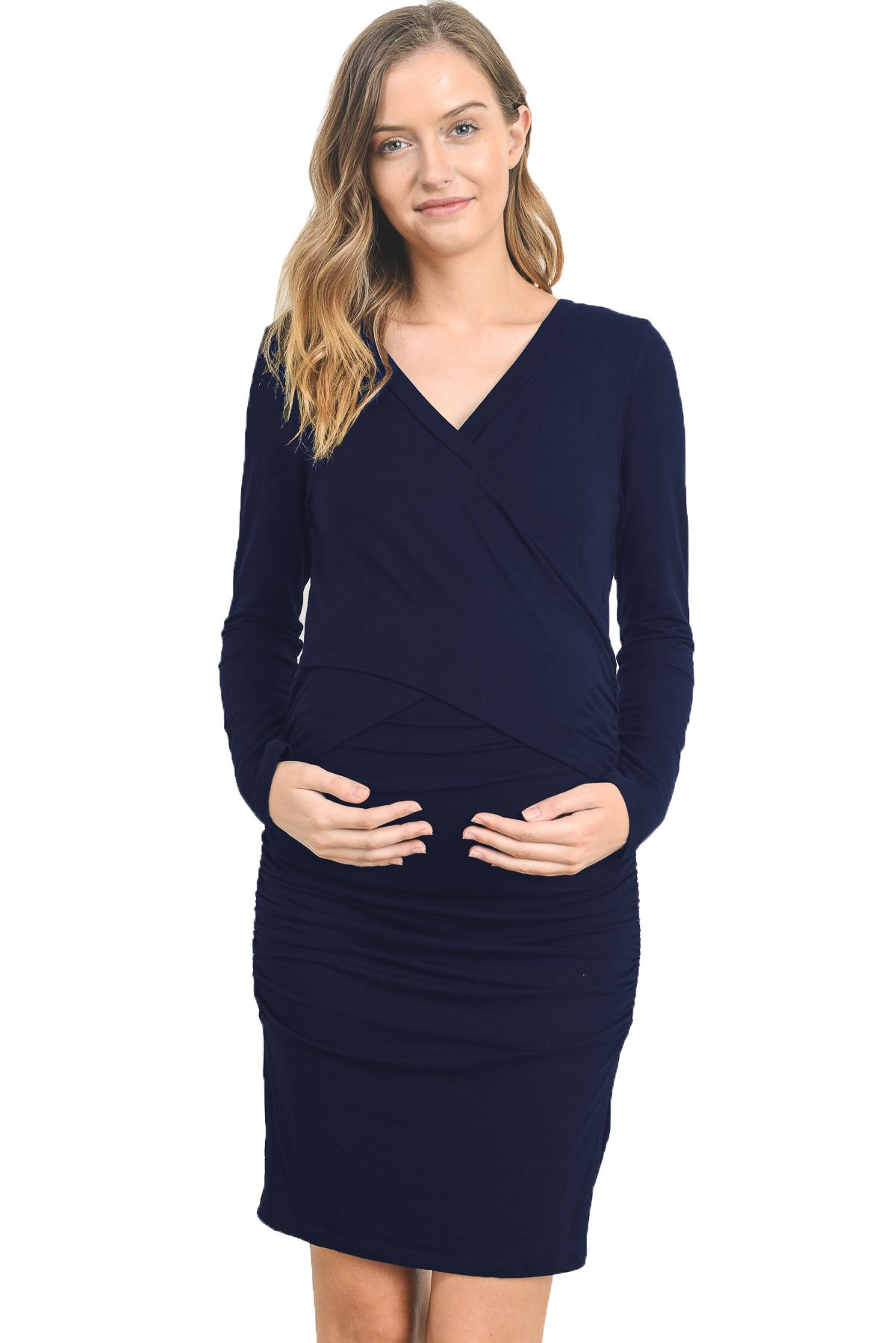 Hello Miz Women's Cross Over V-Neck Long Sleeve Fitted Maternity Nursing Dress (Navy,Large)