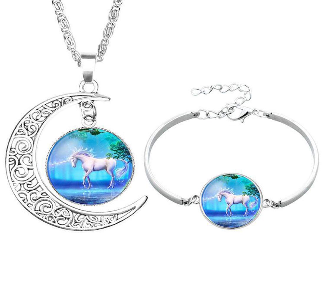 Unicorn Jewelry, Unicorn Necklace and Bracelet for Girls Women Gift Accessory - Style 65011007