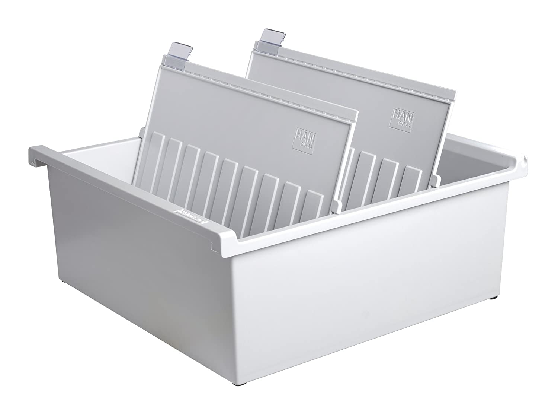 Han 954-0-1-11 - Schedario per circa 1.300 cartellini formato A4 orizzontale, 325 x 140 x 347 mm, grigio chiaro 954-0-11
