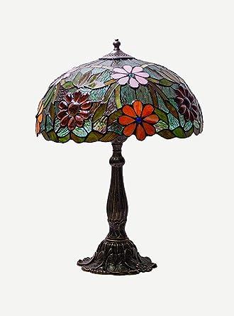 Keyhome - Lámpara de mesa con base de latón estilo Art Decò y ...