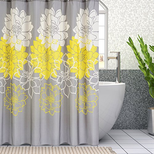 Wimaha Peony Flower Fabric Shower Curtain Mildew Resistant Waterproof Standard Shower Bath Curtain for Bathroom Yellow and Grey, 72 x 72 (Curtins Shower)