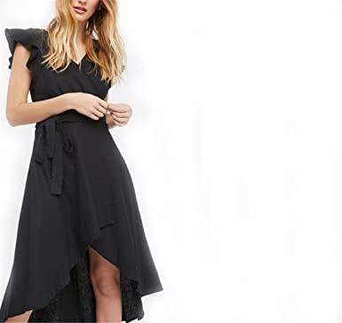 KLOIP Sexy V Neck Ruffles Patchwork Dress Solid Black Belt Sashes Vestidos De Fiesta Casual Irregular