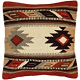 Throw Pillow Covers, 18 X 18, Hand Woven in Southwest and Native American Styles. Hand Crafted Western Decorative Pillow Cases in Wool. (Rico 16)