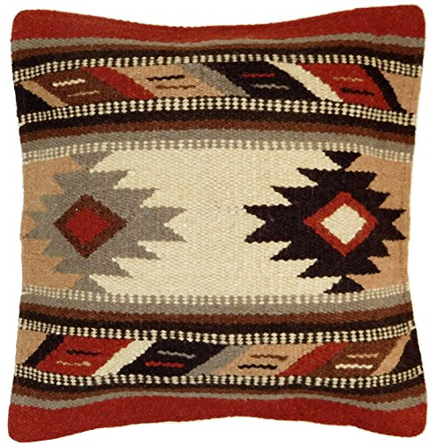 El Paso Designs Throw Pillow Covers, 18 X 18, Hand Woven in Southwest and Native American Styles. Hand Crafted Western Decorative Pillow Cases in Wool. (Rico 16)
