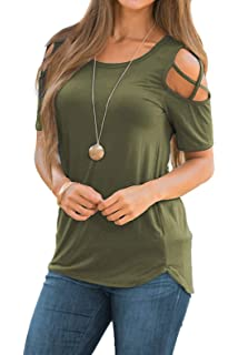 d74545019e5f4 Adreamly Womens Loose Strappy Cold Shoulder Tops Basic T Shirts at ...