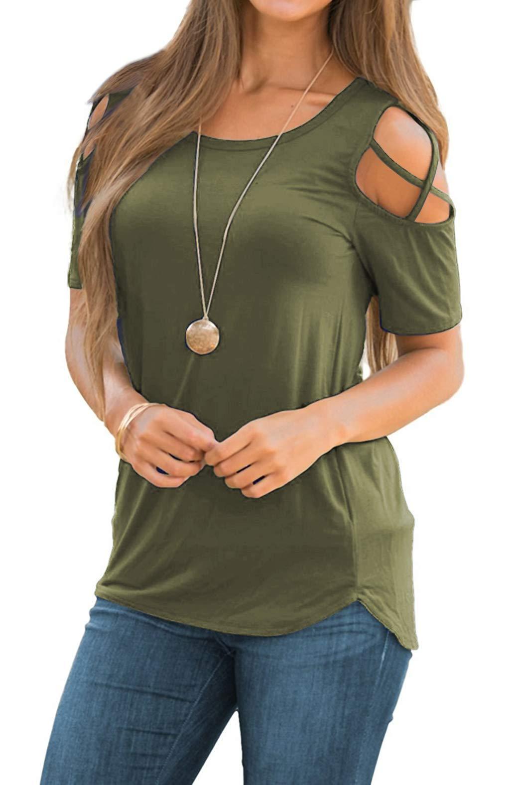 iGENJUN Women Short Sleeve Strappy Cold Shoulder T-Shirt Tops Blouses