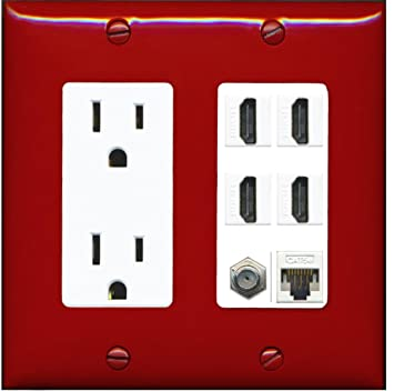 RiteAV 15A Power Outlet, 4 HDMI, 1 Cat5e Ethernet, 1 Coax Cable TV