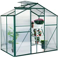 U-MAX Greenhouse Polycarbonate Outdoor Garden Greenhouse Walk-in Portable 4'(L) x6'(W) x6.6'(H) Adjustable Roof Hot House
