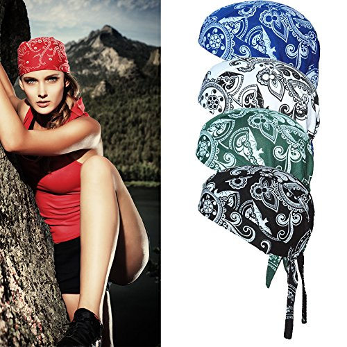 Sweat Wicking Skull Cap Beanie Perfect Helmet Liner for Cycling Adjustable Bandana Head Wrap That Fits Perfectly for Active Use Breathable Chemo Hats for Your Loved One – Comes in 4 Paisley Designs (Cap Wrap Skull)