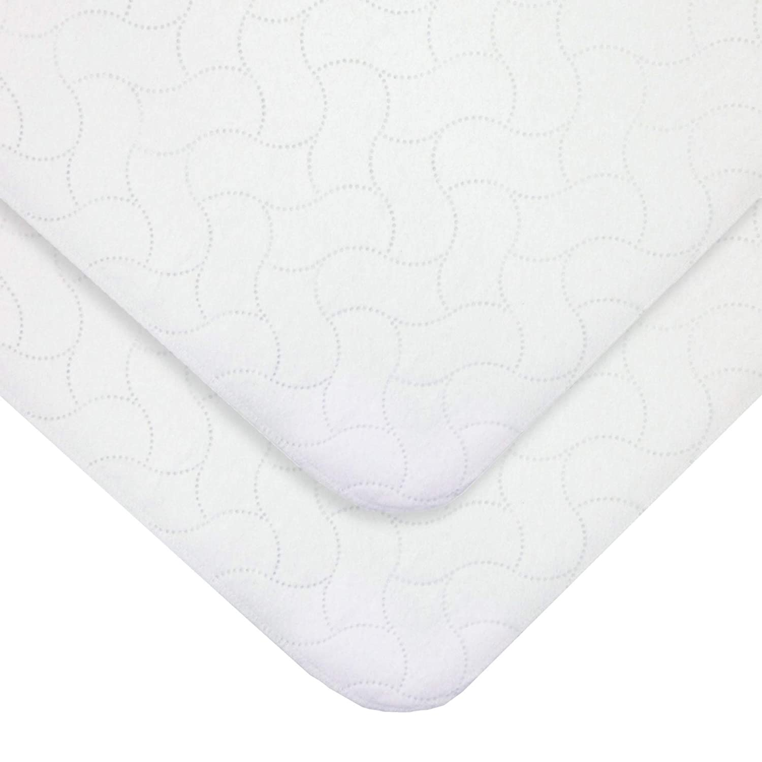 American Baby Company Waterproof Embossed Quilt-Like Flat Crib Protective Pad Cover for Boys and Girls, White 22853