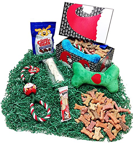 Deluxe Christmas Holiday Dog Gift Basket Box of Biscuits, Treats, Dental Bone, Rawhide, Plush To ...