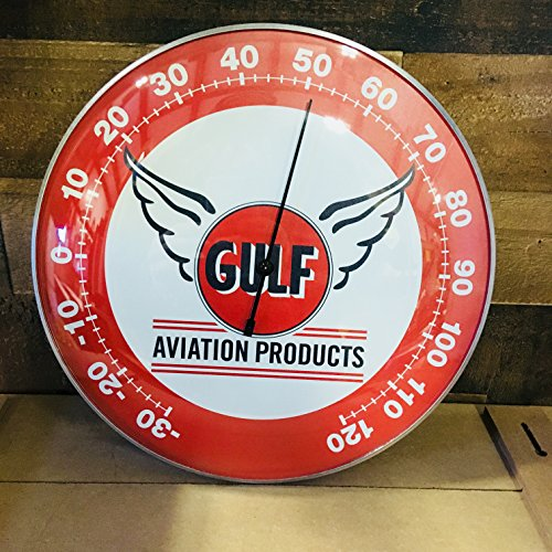 "GULF Gulf Aviation Products THERMOMETER 12"" Round Glass Dome Sign - Brand New - Vintage Style (Garage Round Style Boat)"