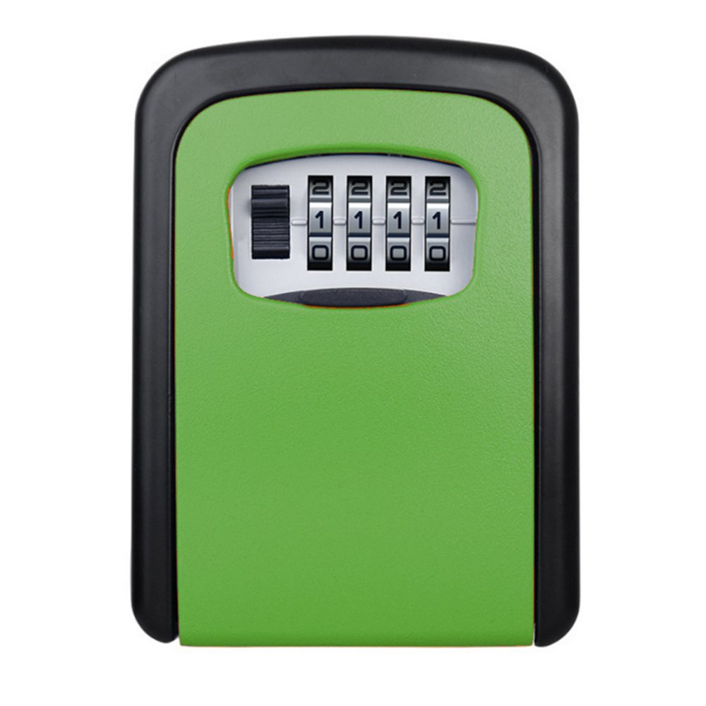 Key Storage Lock Box, Wall Mounted Key Lock Box with 4-Digit Combination, Holds up to 5 Keys, for House Keys or Car Keys (Green)